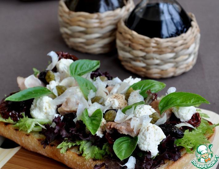 Рецепт: Салат из печени трески с домашней рикоттой