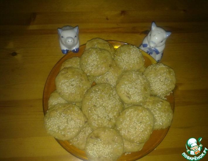Рецепт: Капустные пышки с кунжутом