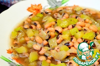 Рецепт: Овощная похлебка с белой фасолью. Постный рецепт