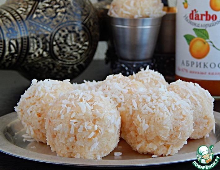 Сладкие кокосово-абрикосовые шарики