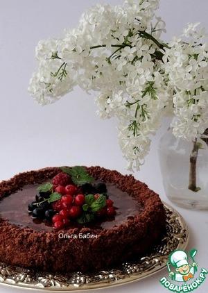 Рецепт: Постный торт с кокосово-карамельным кремом