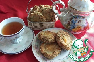 Рецепт: Ореховое печенье с заварным кремом