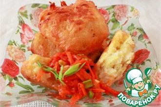 Рецепт: Картофельные пончики, с овощной витаминной икрой приготовленные в мультиварке