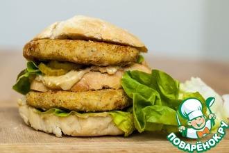 Рецепт: Постный гамбургер с двойной котлетой