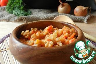 Рецепт: Перловая каша с перцем и томатами