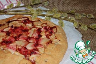 Рецепт: Овсяная галета с яблоком и вишнёвым конфитюром