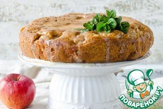 Рецепт: Яблочный пирог с заливкой из кефира и сгущенки