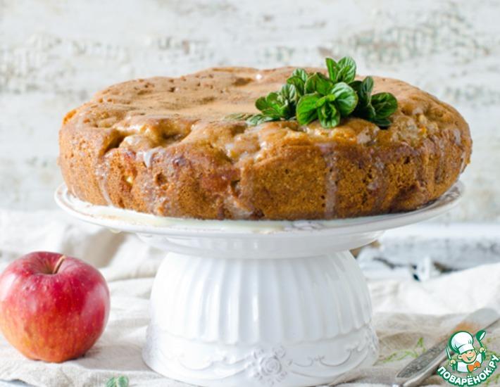 Рецепт: Яблочный пирог со сливочной заливкой
