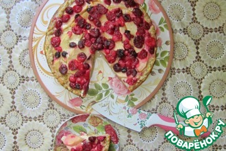Рецепт: Деревенский пирог с яблоками и клюквой