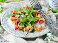 Салат с рисовой лапшой, семгой и салатом ингредиенты