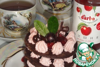 """Рецепт: """"Шоколадно-творожный десерт с вишневым низкокалорийным конфитюром d'arbo"""" для тех, кто следит за фигурой"""