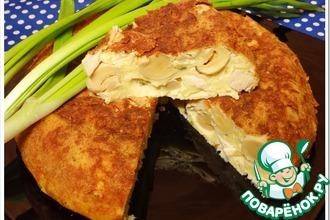 Рецепт: Сырная запеканка с шампиньонами и копченой курицей
