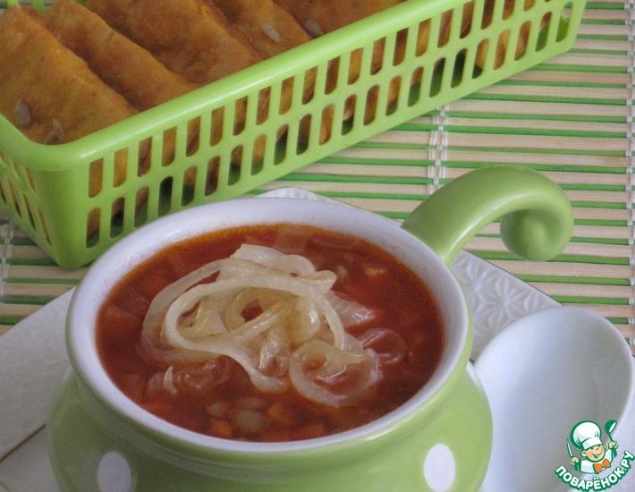 Рецепт: Суп томатный с чечевицей и карамелизированным луком