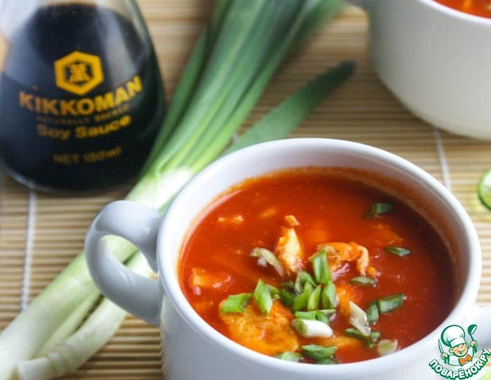 Рецепт: Быстрый китайский томатный суп с яйцом