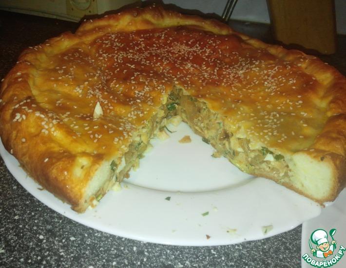 Рецепт: Пирог с капустой, яйцами и зеленью