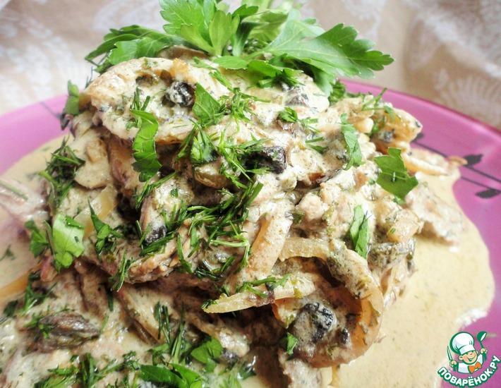 Рецепт: Бефстроганов в грибном соусе
