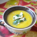Суп-пюре из нута с кальмаром