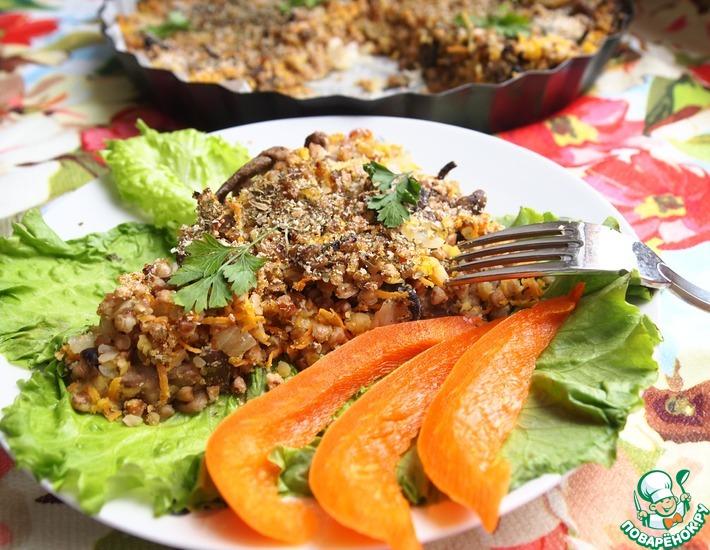 Рецепт: Гречневый пирог с чечевицей и грибами