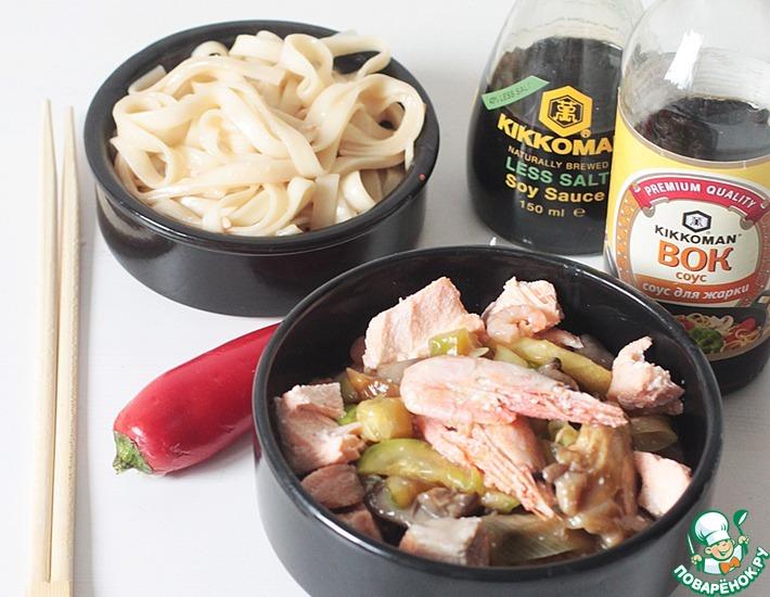 Рецепт: Азиатский наборный суп с лапшой удон