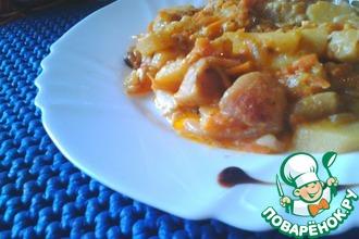 Рецепт: Грибы с картофелем в сметано-томатном соусе