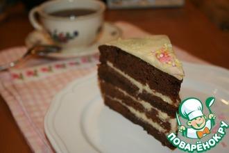 Рецепт: Шоколадно-ванильный торт Пост в сладость