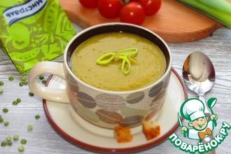 Рецепт: Постный суп-пюре из зеленого гороха