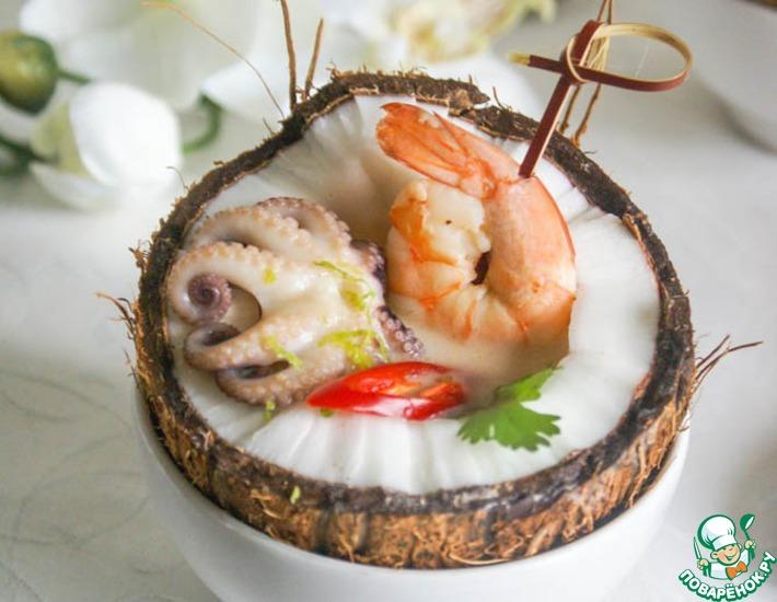Рецепт: Кокосовый суп с креветками по тайским мотивам