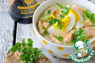 Рецепт: Пшенный суп с семгой и молодой капустой