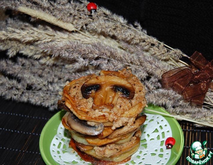 Рецепт: Жареный картофель с грибами на новый лад