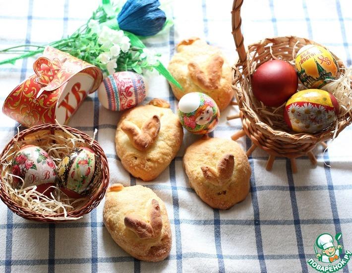 Рецепт: Сдобные булочки Пасхальные зайчики