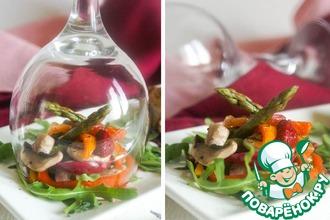 Рецепт: Горячий салат с малиновым ароматом