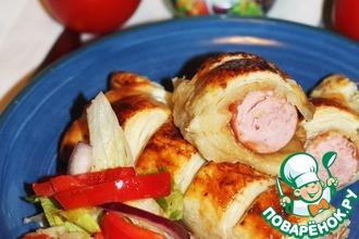 Рецепт: Сосиска в тесте с луковым соусом