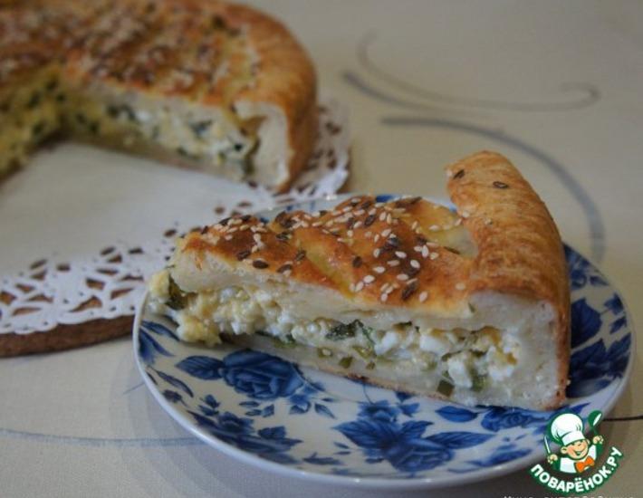 Рецепт: Творожный пирог с сыром и яйцами