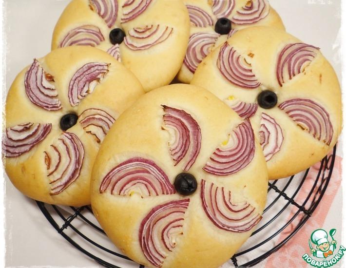 Рецепт: Лепешки с оливковым маслом и луком