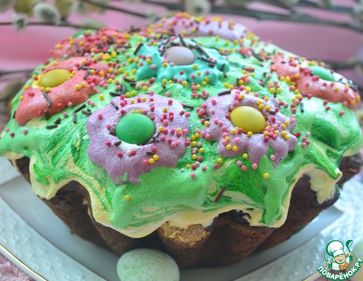 Рецепт: Пасхальный кулич Цветочная поляна с шоколадным сюрпризом