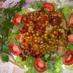 Курица, запеченная с нутом и помидорами