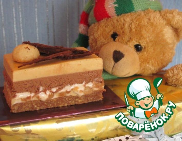 Рецепт: Шоколадно-карамельное пирожное с нугой и орехами