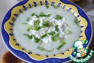 Рецепт: Холодный огуречный крем-суп с творогом