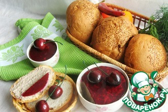 Рецепт: Паштет печеночно-грибной с вишневым желе