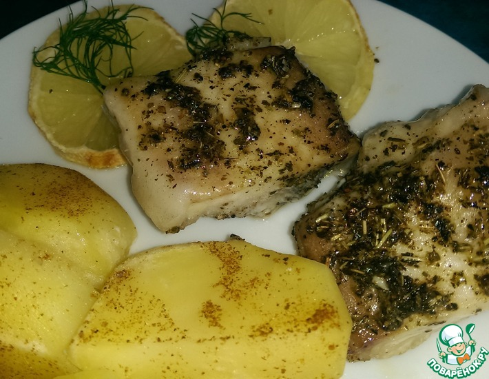 Рецепт: Рыба, запеченная с лимоном и травами