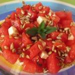 Арбузный салат с брынзой