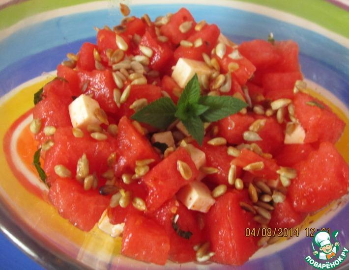 Рецепт: Арбузный салат с брынзой