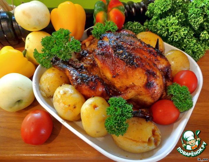 Рецепт: Курица с яблоками в медово-горчичном соусе