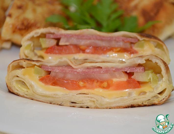 Рецепт: Жареный лаваш в яйце с начинкой