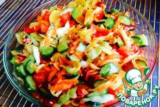 Рецепт: Пикантный салат из свежих овощей Летнее сокровище