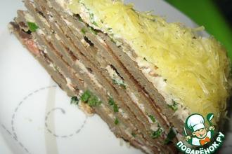 Рецепт: Печеночный торт с баклажанами