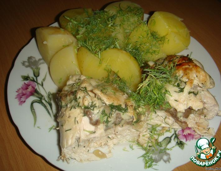 Рецепт: Куриные рулетики с грибами и сыром