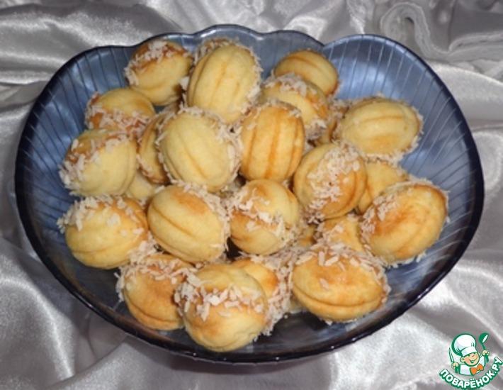 Рецепт: Печенье Орешки с яблочно-грушевым пюре