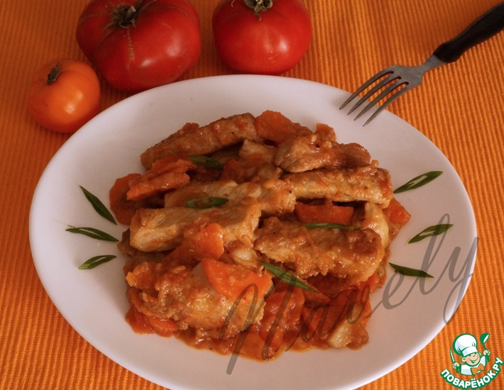 Рецепт: Свинина с имбирем и морковью