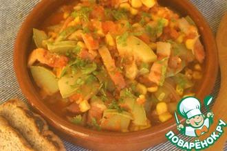 Рецепт: Тушеные кабачки с кукурузой